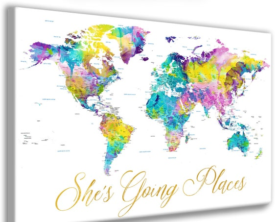 She's Going Places World map with lots of detail. Personalized Push Pin Travel Map, Canvas or Poster. Printable Map Options, Bright Future