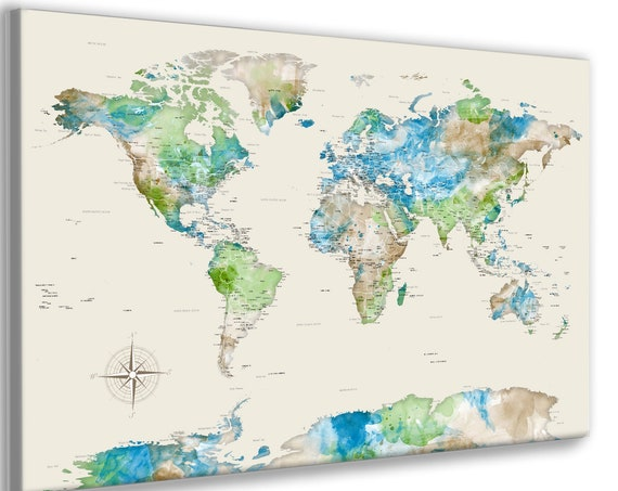 World Map Push Pin, Detailed with Cities, Neutral Large Wall Art Map Canvas, Print or Framed, Custom Title, Personalize map poster for free,