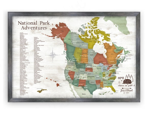 USA and Canada National Parks map for Push Pin map &List of Park Map for Hiking Enthusiast, RV Traveler Gift, Outdoor Adventures Pinboard