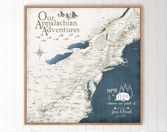 Appalachian Trail Map, Canvas Push Pin Map, Personalized USA Hiking Map Gift, US Road Trip, Camper Print.