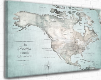 USA map with the Caribbean Included Vintage style map. Small & Large sizes, Vacation Push Pin Map. Cruise Vacation PinMap Family Adventures