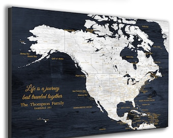 North America Map including the Caribbean Islands. Personalize for Wedding Couple or Retirement Gift for travellers. Adventure Awaits Map