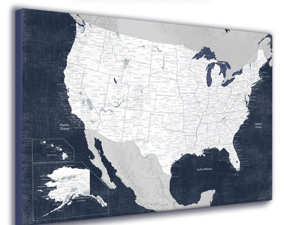 USA map print with Cities, States, National Parks and relief texture. North America Travel Map for Teen, Navy Bedroom Decor. Free Shipping