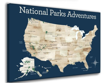 Personalized Gift for Hiker, Outdoor Active Family Gift , US National Park Map, Push Pin Map with National Parks Listed, Canvas USA park map