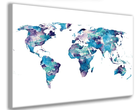 Dark Blue, Aqua and Purple Watercolor World Map Poster Print. Suit home or Baby's Nursery. Bedroom Large World Map Art or Dorm Room Wall Art