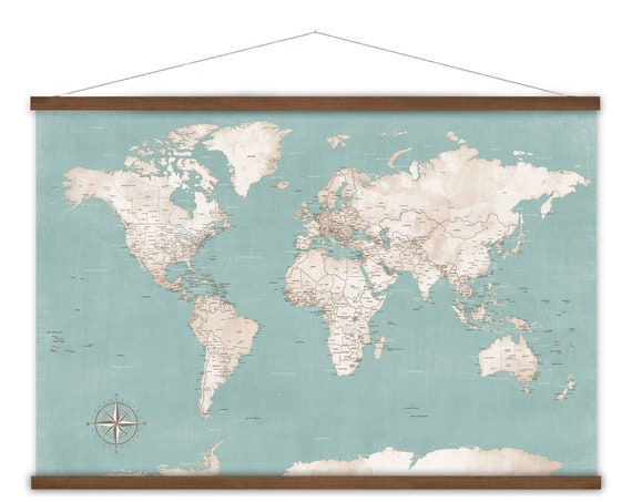 Vintage Style Canvas Wall Map Art Print with modern world map cities, USA states, World Travels Canvas Map of The World, Large Travel Map