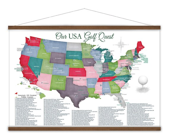 Personalized Golf Gift, Best Public Golf Courses in USA Add Name, Golfing Locations in the US, Top Golf Course List, Golf Wall Art Canvas.