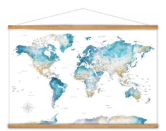 Teal World Canvas Map, Large Wall Map Art Print, Canvas Map of The World, Pretty Watercolor Map with county and city labels, Anniversary Map