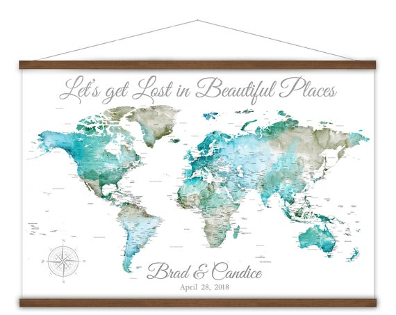 Detailed World map Canvas poster wall art, Large Personalized world map, World map print for couple, Map Decor, Office Travel theme decor