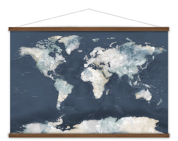 Large Office Wall Map, Personalized World map, Executive Wall Art, World Map Wall Art, Large Canvas, Adventure Office Decor, Travel Inspo
