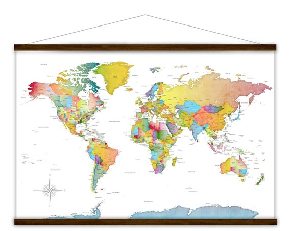 Big Bright Colorful Wall Map Canvas Art, Large Detailed WORLD Map, Cities & State Names. Tapestry Modern Map Print of World with US States