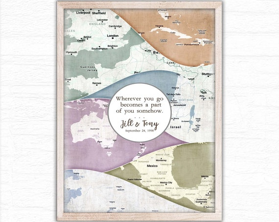 Personalized Travel Memories, Framed Adventure Map, Anniversary Gift, Valentine Gift, Travel Poster, Wanderlust Wall Art, Vacation Locations