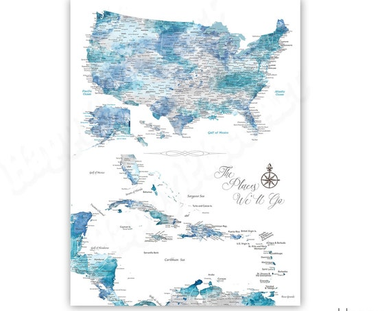Caribbean and USA detailed maps on one print Unframed or Framed Push Pin Map, Canvas or various Print sizes available. Wedding Gift for Wife