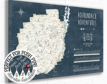 Detailed Adirondack Map, Map of ADK Mountains, Adirondack gifts, 46 High Peaks Souvenir, Fire Tower list, Upstate New York Hiking Pin Map