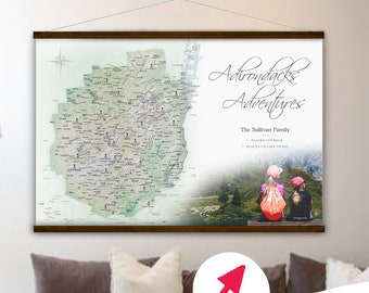Adirondacks Gift Wall Map, Personalized Outdoor Hiker Gift, Unique gift for Wife, RV Decor, Outdoor Family, Custom Adirondacks Canvas Map