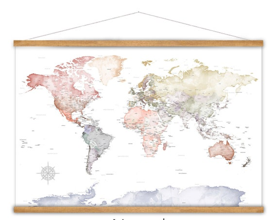 Anniversary Gift for Wife, World Map Canvas, Office Wall Art, Pretty World Travel Map, Large Canvas, Adventure Awaits Theme Office Decor