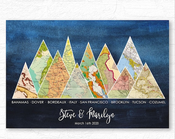 Personalized Anniversary Gift, Engagement Print, Wedding Gift for couple with vintage maps, Special Places Meaningful locations as Mountains