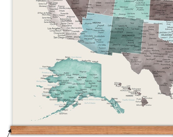 Simple Large US map on canvas, USA Wall Map with Frame, Design & size options, RV Wall Decor Map of Road Trip Adventures, United States map