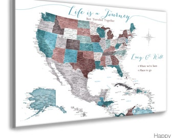 Detailed Caribbean and USA map, Gift for Wife, Personalized Anniversary Gift Caribbean Cruise Sailing Map, Life is a Journey, Custom Map key
