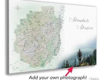 Adirondacks Map, Hiking Enthusiast Gift, Adirondack Mountains Push Pin Map, Canvas Or Wall Poster Map, Personalized Family Adirondack