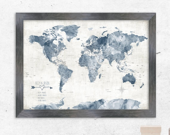 Muted Blue Gray World Map with Cities, Large Watercolor Map in Denim Blue, Push Pin Map of World. Hampton Style Wall Map with USA states,