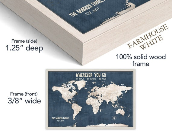 Navy World Map Push Pin Anniversary Canvas, Travel Gift for Husband, Valentines Gift for Boyfriend, map with Foamboard backing for pins