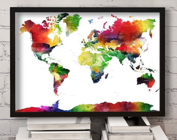 World Map Gift for Traveller, Map with country labels, Large Colorful Print, Watercolor World Map, Painted world map, Map in Rainbow colors