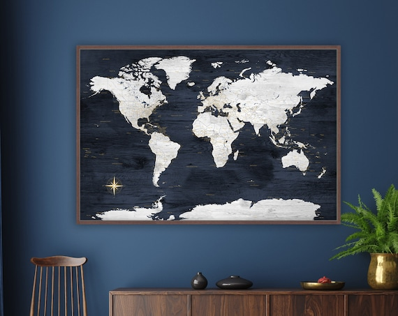 Push Pin Canvas World Map with Floating Frame or Giclee Print Poster Map of the World, Large Office Wall Art Map, Optional Personalization