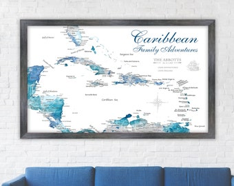 Family Map of Caribbean Travels, Push Pin Map, Canvas or Art Print. Caribbean Gift for Family, Wall Map, Memento of Cruise, Island Sailing