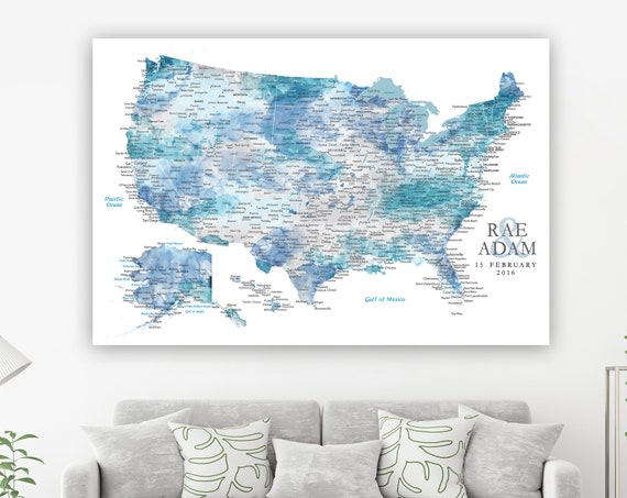 Personalized Map Gift for Husband Detailed USA with Cities & Capitals, Push Pin Maps available very Large size, Framed or unframed or Canvas