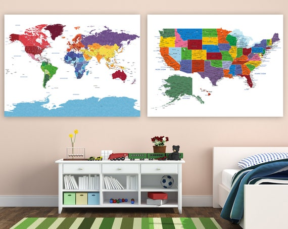 Set of 2 Map Prints, Bright Primary colors, Homeschool Maps, World map, USA map, Cities, Country Names, Travel map, Push Pin Map or Canvas