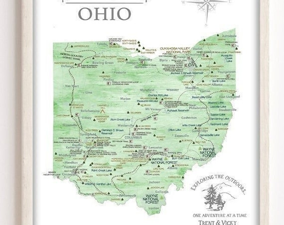 Ohio State Map Parks & Hiking Trails, Gift for Hiker, Personalized Ohio Map Canvas, Poster or State Park Push Pin Map,Outdoor Trek in Nature