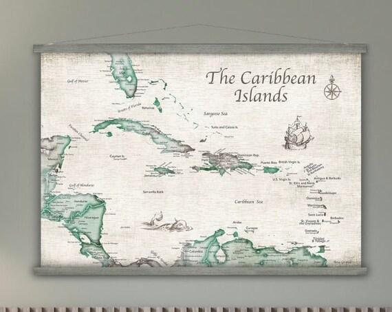 Caribbean Map Canvas, Caribbean Island Map, Large Map of Caribean, Island Cruise Map, Caribbean Travel Wall Map, Bahamas, Jamaica Map Print