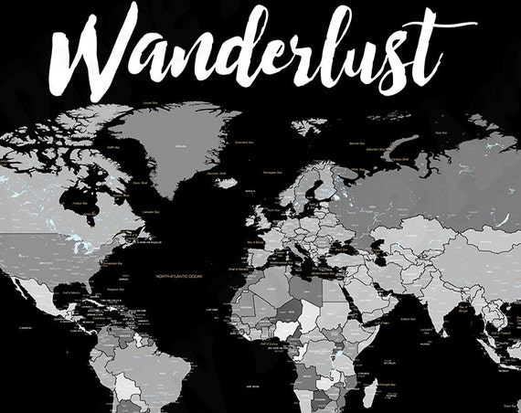 Instant Download Detailed World Map, Neutral Grayscale , Wanderlust map, Digital World map for DIY printing, 20x30in, Printable map of world