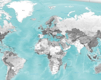 Large Canvas World Map, Huge Map, Aqua and Gray, Grayscale, Relief world map, Huge Push Pin Map, Pin Travel Map, Pin map, Family Travel Map