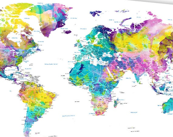 World Map Wall Art, mark travels with pins, World Map Print or mounted with foam board, Canvas art, Push Pin Map, Large detailed world map