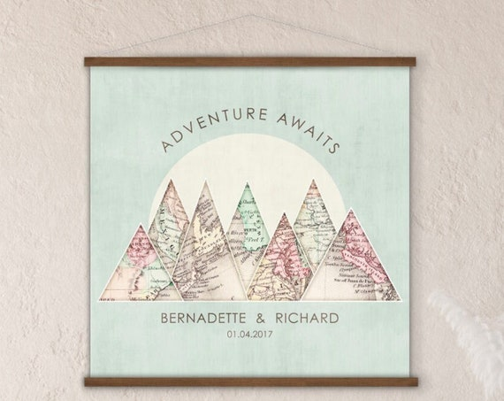 Wedding Gift & Anniversary Gift for couple,Travel Locations, Personalized Milestone Wall Art, Choose 1-10 Places for Triangles for Travelers