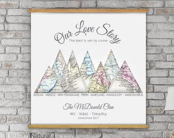 Mountain Wall Art Print, Christmas Gift For Couple, Wanderlust Canvas For Parents, Adventure Anniversary Map Gift, Personalized Vintage Map
