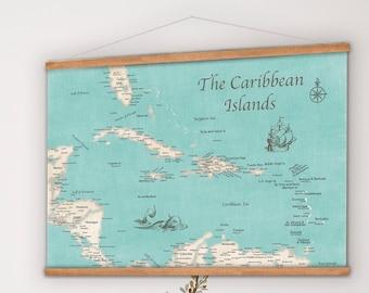 Large Map of Caribbean, Hanging Canvas Island Map, Caribbean Travels, Bahamas Vacation, 25th Anniversary Cruise Print, Personalized Sailing