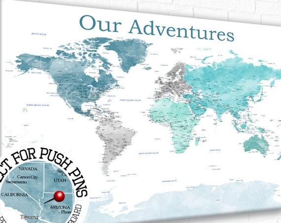 World map with USA states, USA states and cities, Map with USA details, Aqua, Turquoise, Large world map, Watercolor, Push pin map & usa map