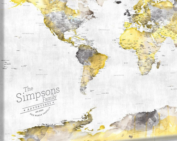 Gray & Yellow World Map Wall Art, Push Pin Map 24x36 40x60, 30x40 inch and large sizes Paper Anniversary First Anniversary Gift for Husband