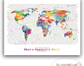 Large world map poster etsy wonderful world map poster art artistic world map watercolor world map in rainbow large world map typography printable map with text art gumiabroncs Image collections