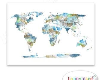 Watercolour World Map Poster Large Colourful World Map Etsy - World map poster large download