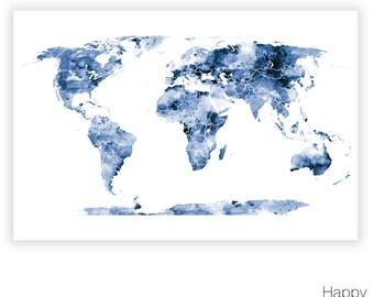 Navy Blue World Map Etsy