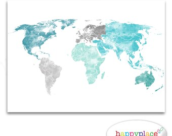 Large World Map Etsy