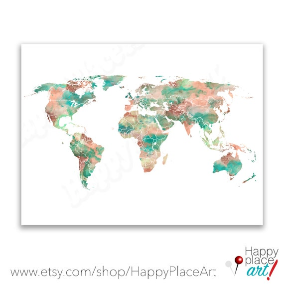 Mint Green Lime and Peach World Map Print 8x10 11x14 or | Etsy