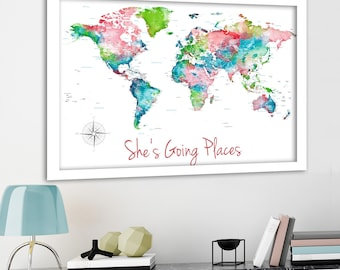 Family Adventure Travel Push Pin Map, Colorful Personalization World Map wall art for Pins, Foamboard backing to mark travels on Pinboard