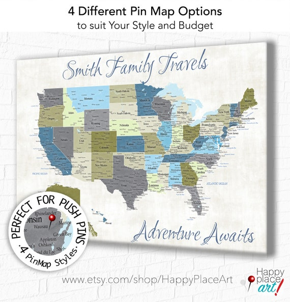 Personalized HUGE USA Map Poster Neutral Color Map Khaki, Blue, Cream. Custom quote, lyrics, words, text. Suit Push pin map   Canvas map Art