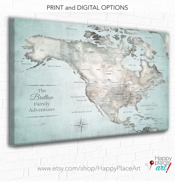 Usa Map With The Caribbean Included Vintage Style Map Small Etsy