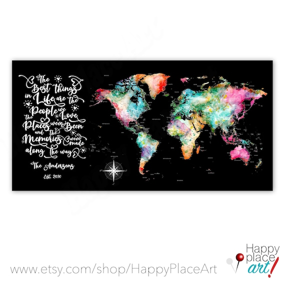 Personalized Bright Wall Art, Large World map, Push pin Canvas Family Travel Map, Best Things In Life, Adventure Map, People We Love quote